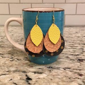 Cute gray/yellow faux leather earrings